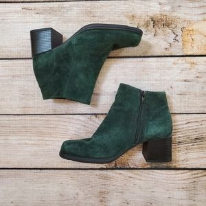White Mountain Green Suede Square Toe Ankle Boots